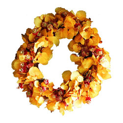 "The Firefly Garden - Oktoberfest - Illuminated Floral Design - Oktoberfest is inspired by the rich colors of Autumn and the celebrations that come along with it.  This 21"" lighted wreath is made with lush yellow Aspen leaves accented with burgundy hops blossoms, and illuminated by warm amber battery operated LED lights."