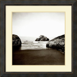 Amanti Art - Steven N. Meyers 'Face Rock' Framed Art Print 34 x 34-inch - This beach scene by Steven N. Meyers showcases the classic simplicity of black and white photography.