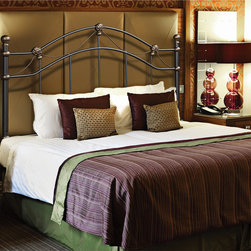 Monarch - Hammered Black Queen/Full Head or Footboard - Can be used as a headboard or remove the legs to convert over to a foot boardGold decorative finials Rope twist accents