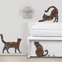 My Wonderful Walls - Cat Wall Sticker Trio - Set of 3 Floral Cat Decals, Small, Reversed - -Colorful and floral cat wall stickers / wall decals!