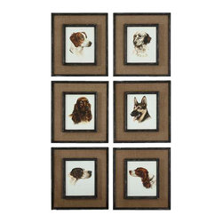 Uttermost Special Friends Wall Art Set/6 - Frame and fillet have a black base coat with heavy brown and taupe di medium brown burlap mats surround the prints. Frames and fillets have a black base coat with heavy brown and taupe distressing accented with gold dry brushing.