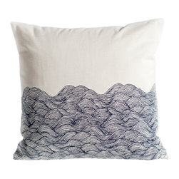 Ortolan - Ocean Waves Pillow - Get lost in this calming waves print, hand drawn and printed.
