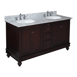 Kitchen Bath Collection - Bella 60-in Double Sink Bath Vanity (Carrara/Chocolate) - This bathroom vanity set by Kitchen Bath Collection includes a chocolate cabinet, soft close drawers, self-closing door hinges, Italian Carrara marble, double undermount ceramic sinks, pop-up drains, and P-traps. Order now and we will include the pictured three-hole faucets and a matching backsplash as a free gift! All vanities come fully assembled by the manufacturer, with countertop & sink pre-installed.