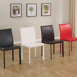 Coaster - Chocolate Parson Chair, Set of 4 - Complete the look of your dining table with the casual contemporary designs of this dining side chair. The sleek armless style offers clean lines and bold upholstered colors to choose from. These pieces are available in black, white, chocolate or red to accommodate your personal style.