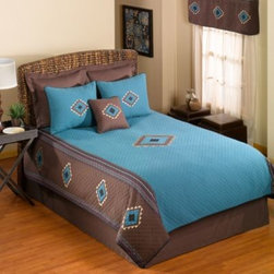 Donna Sharp - Donna Sharp Desert Star Quilt - Decorate your bedroom with Desert Star, featuring rich turquoise and earthy brown, accented by beige and black in an appealing southwestern design. Accessorize with coordinating bed skirt, toss pillows and matching pillow shams (sold separately).