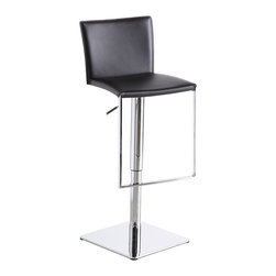 J&M Furniture - Black Leather C-183B-3 Barstool - C-183B-3 Black Leather Barstool by M Furniture swivels 360 degrees and has a hydraulic adjustable seat. Its hydraulic height adjustment emphasizes its quality. Its solid stainless steel base makes it durable enough for use in any situation.