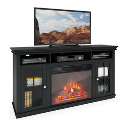 CorLiving - CorLiving TFP-608-Z Carter TV Bench with Fireplace in Black Wood Grain - This traditional style bench features ample storage space,decorative crown molding,brushed aluminum hardware and glass doors enhanced with wooden cross detail. The center fireplace features a realistic flame which operates with or without heat.