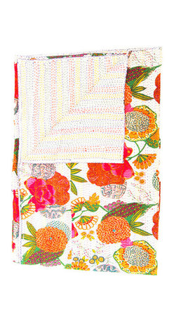 Indian Quilt Floral Bedspread - I will be hosting some overnight guests, and this gorgeous blanket is sure to add extra cheer in the bedroom.