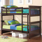 Coaster - Oliver Twin/Twin Bunk Bed, Cappuccino - The Oliver youth collection features a traditional twin size bed includes under bed storage space. A twin over twin bunk bed comes in a classic shape that kids love, Matching case pieces are provide plenty of storage wrapped in an attractive cappuccino finish. Choose this collection for a playful bedroom set that's kid friendly yet chock full of grown up appeal!
