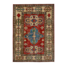 """ALRUG - Handmade Red/Rust Oriental Kazak Rug 5' 2"""" x 7' 3"""" (ft) - This Afghan Kazak design rug is hand-knotted with Wool on Cotton."""