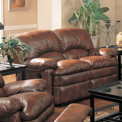Coaster - Walter Motion Loveseat, Brown - This dual reclining sofa and love seat have the look of leather but is covered in easy care bonded leather. The ultra comfortable seating, with the overstuffed padded arms and seat cushions creates a casual and comfortable look. Matching rocker recliner also available.