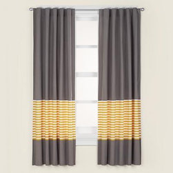 Kids Grey & Yellow Curtain Panels - If I hadn't already had Roman shades made, I would be using these in my little boy's room. I love the combination of the gray with the yellow and white stripes.
