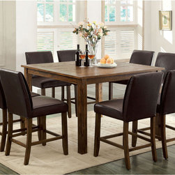 Furniture of America - Furniture of America Tressima 9-Piece Dark Oak Counter Height Set - Grace and modern design come together to make this beautiful natural-like counter height dining set. The natural wood grain feels just like real wood with added texture and sophistication,while the tall leatherette seats ensure a smooth and sleek appeal.