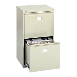 """Safco - 2-Drawer Vertical File Cabinet - Sand - Get file drawer convenience. Constructed of heavy-duty steel, each drawer will hold twenty-four 18"""" Hanging Clamps (sold separately) or hanging file folders (see Model 5038). Clamps and folders may be combined in the same drawer. Key lock included for protection of confidential information. Shipped ready to use.; Features: Material: Steel; Color: Sand; Finished Product Weight: 120 lbs.; Assembly Required: No; Limited Lifetime Warranty; Dimensions: 23 1/4""""W x 24""""D x 40 1/2""""H"""