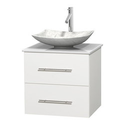 """Wyndham Collection - Centra 24"""" White Single Vanity, White Man-Made Stone Top, Carrera Marble Sink - Simplicity and elegance combine in the perfect lines of the Centra vanity by the Wyndham Collection. If cutting-edge contemporary design is your style then the Centra vanity is for you - modern, chic and built to last a lifetime. Available with green glass, pure white man-made stone, ivory marble or white carrera marble counters, with stunning vessel or undermount sink(s) and matching mirror(s). Featuring soft close door hinges, drawer glides, and meticulously finished with brushed chrome hardware. The attention to detail on this beautiful vanity is second to none."""