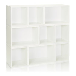Way Basics - Stackable Oxford Modular Storage, White - The Oxford Modular Organizer is a unique combination of our Cubes, Cubes Plus and Rectangle Plus. This configuration will stylishly adorn any room as a statement piece, room divider, or bookshelf for your home or office.