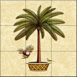 The Tile Mural Store (USA) - Tile Mural - Coconut Palm 4   - Kitchen Backsplash Ideas - This beautiful artwork by Dan Morris has been digitally reproduced for tiles and depicts a palm tree in a pot.  With our enormous selection of tile murals of tropical plants and flowers you can bring your kitchen backsplash tile project to life. A decorative tile mural with plants and flowers is an impressive kitchen backsplash idea and decorative flower tiles also work great in the bathroom. Add splashes of color and life to your tile project with images of flowers on tiles and tiles with pictures of plants.