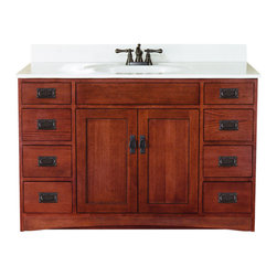 """Sunny Wood - Sunny Wood FR4821D Mission Oak Franciscan 48"""" Wood Vanity Cabinet from - 48"""" Wood Vanity Cabinet from the Franciscan Collection The Franciscan Collection from Sunny Wood features proven American styling, value, and practical function in a single collection. The inset panel doors and drawers are highlights of this design. Sunny Wood uses solid oak door and drawer front construction and complements the beauty of the natural wood grain with a warm oak finish. Plywood drawer sides, dual, side-mounted drawer slides, and concealed door hinges add to the value of the Franciscan collection. A wide variety of accent pieces allows almost endless configurations as well. Product Details:   Dimensions: 48""""W x 21""""D x 34""""H Constructed of Oak hardwoods and veneers 2 Door, 8 Drawer Design Ample interior storage Crated and shipped assembled Brass decorative hardware Franciscan vanities: 30"""" (FR3021D), 36"""" (FR3621D), 48"""" (this model)      Additional image is that of the 36"""" version of this vanity, but still provides reference for design characteristics and finish."""