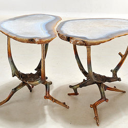 Rare Hand Sculptured Bronze And Agate Cocktail Tables - Look at this pair! These little stunners are hand-sculpted and very expensive. They have a high price tag, but they truly are one of a kind. The sculptural base is bronze.