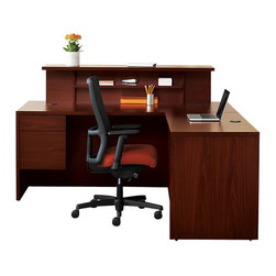 Hon - 10500 Reception Desk 2 - Make a great impression on customers with this professional reception desk. Finished in warm cherry laminate, it features accessory and file drawers, cubbies, grommets for wire management, and a customer ledge for service.