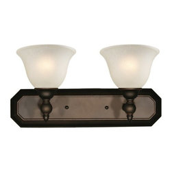 Z-Lite - Z-Lite 904-2V Clayton 2 Light Bathroom Vanity Light - Give your home a touch of stately elegance with the classic Clayton lighting family. The simple detailing and clean lines of this two light vanity fixture is finished in bronze with antique ivory glass shades.Specifications: