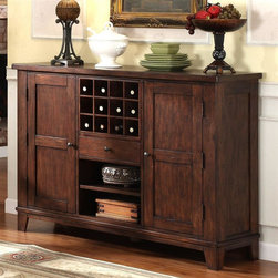 Riverside Furniture - Castlewood Wine Server in Warm Tobacco Finish - Two doors. Doors with two adjustable shelves. Top center with removable 12-bottle wine rack storage box. Center drawer with dovetail construction, felt-lined bottom and ball bearing extension guides. Bottom center with open storage and adjustable shelf. Tip restraining hardware. Base leveler and center support. CPSC HR-4040 certified. Made from random thickness, physically distressed walnut hardwood solid top and walnut veneer. No assembly required. 58 in. W x 18 in. D x 42 in. H (209 lbs.)