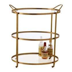 Arteriors - Connaught Bar Cart, Antique Brass - Timelessly elegant with its clear glass shelves and metal frame, this artisan designed bar cart serves up a classy party. Clean, simple lines with a subtle sheen make the perfect frame for displaying your fine glasses and top shelf bottles.