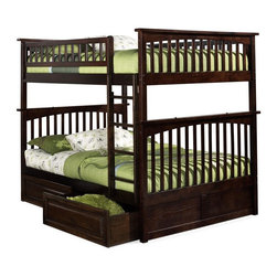 Atlantic Furniture - Columbia Full Over Full Bunk Bed w Raised Pan - NOTE: ivgStores DOES NOT offer assembly on loft beds or bunk beds. Includes full upper and lower panels, rails, ladder clip-on, slat kits and raise panel drawers. Mattress not included. Solid hardwood Mortise & Tenon construction. 26-Steel reinforcement points. Made of premium, eco-friendly hardwood with a 5-step finishing process. Designed for durability. Guard rails match panel design. Meet or exceed all ASTM bunk bed standards, which require the upper bunk to support 400 lbs.. Pictured in Antique Walnut finish. 1-Year manufacturer's warranty. Clearance from floor without trundle or storage drawers: 11.25 in.. 80.5 in. L x 58.38 in. W x 68.13 in. H. Raise panel drawers: 74 in. L x 24.38 in. W x 12 in. H. Bunk Bed Warning. Please read before purchaseThe Columbia bunk bed features a classic Mission style design with subtle curves and solid post construction.