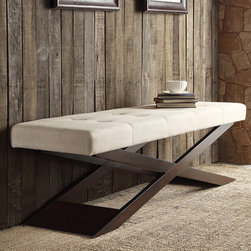 Inspire Q - INSPIRE Q Bosworth Beige Linen Wood X Base Bench - You'll adore the unique appeal of this beige linen bench with trestle-style legs from the Yakiya collection. Featuring a birch hardwood frame and soft foam fill,the sophisticatedly-upholstered bench is a great addition to your Asian-inspired decor.