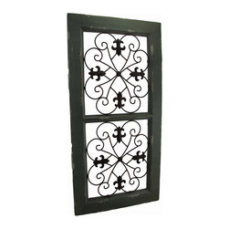 Zeckos - Rustic Wood and Metal Scroll Fleur De Lis Decorative Wall Panel - This decorative wall panel is the perfect alternative to conventional wall hangings with scrolling metal and Fleur De Lis accents in the center of a lightly weathered green 31.5 inch high, 15.5 inch wide, 1 inch deep (80 x 39 x 3 cm) wood frame. It's easy to mount on any wall whether in the entryway, family room or bedroom using the attached hangers on the back. It's wonderful as a focal point, or display it with small frames or other collectible items for a truly unique display, and it makes a great housewarming gift sure to be enjoyed