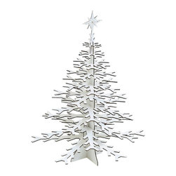 Cardboard Safari - Snowflake Tree, White, Small - Our Snowflake Tree is laser-cut for precision fit and easy assembly using slotted construction. They look great in their native brown or white and can be decorated with paint, glitter or other craft materials.