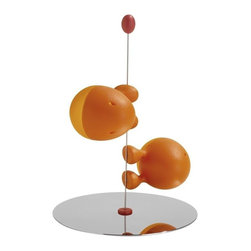 "Alessi - Alessi ""Lilliput"" Salt and Pepper Set, Orange - This salt and pepper set is made of thermoplastic resin and the base is stainless steel mirror polished."