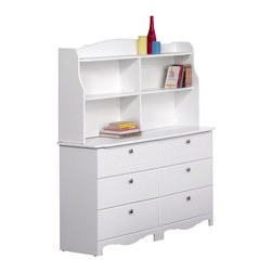Nexera - Nexera Pixel 6-Drawer Double Dresser with Hutch in White - Nexera - Kids Dressers - 310603310903KIT. The Nexera Pixel Double Dresser and Hutch combination features quality white laminate casings with textured White lacquer tops and drawer fronts. The dresser includes six drawers for full your storage needs.