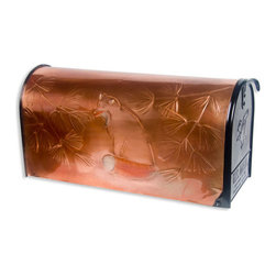 Fox Post Mount Copper Mailbox - Copper - A beautiful fox is hand-embossed on this bright copper post mount mailbox.  An easy update that will add style and beauty to your home.