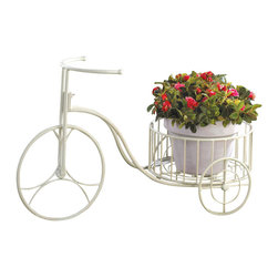 Koolekoo - White Tricycle Plant Display - Show off your potted plants with a healthy dose of country whimsy. This white metal tricycle plant holder looks great indoors or outside.
