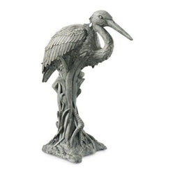 Heron in Reeds Statue - This statue captures the form of one of nature's most beautiful creatures! The wonderfully detailed Heron in Reeds Statue will flatter any patio, lawn, or garden area. Crafted from a resin and crushed marble mix, this elegant garden statue will not absorb moisture or crack in extreme temperatures. Choose from a variety of finishes. Shown in Moss. With the Heron in Reeds Statue in your garden, you will enjoy a more serene outdoor setting.About Ladybug Garden DecorSince 1970, Ladybug Garden Decor has created unique garden statuary and other products, replicating classic techniques and motifs. Each hand-crafted piece is cast in a crushed marble/resin composition that captures and reproduces the same definition and minute detail as originals. This resin mix is a substantial, non-porous material that doesn't absorb moisture, making it ideal for outdoor use. Although it offers the strength and durability required to endure even extreme weather conditions, it is of greatly reduced weight, making it easy to transport and ship. Finishes are applied by hand, enhancing every detail, and resulting in unique pieces throughout the selection.