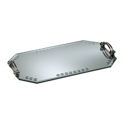 Cyan Design - Cyan Design Mirrored Glass Tray X-38220 - Concave accents line the edges of the elongated octagonal body of this Cyan Design mirrored glass tray. This beautiful flat top tray also features double handle accents at either end, with Silver finishing that accentuates their curvature and provides a feel of upscale elegance.