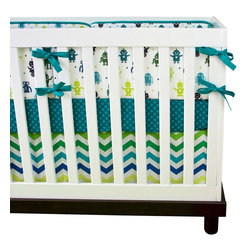 Modified Tot - Baby Bedding Crib Set, Robots - Every boy loves robots and these are sure to please Mom too! Featuring turquoise, deep green, lime green and navy.