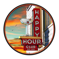 Past Time Signs - Happy Hour Round Metal Sign 28 x 28 Inches - �  Width: 28 Inches