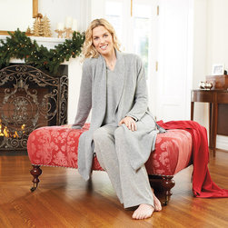 Frontgate - Cashmere Bath Robe - Woven of 100% premium cashmere. Cashmere's wicking ability makes it appropriate for year-round wear in most climates. The shawl-collar styling offers a flattering fit. Two patch pockets and a self-tie sash with belt loops. Falls just above the knees. Relax in the cozy warmth of our exclusive Cashmere Robe. Woven of exquisite 12-gauge, two-ply cashmere, this soft, lightweight robe makes an elegant gift that will be appreciated over and over again. One of the most precious fibers in the world, cashmere offers lightweight warmth without the bulk.  . . . . . Arrives in an elegant gift box. Dry clean . Imported.