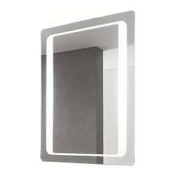 "Vanita And Casa - Large Fluorescent Light Mirror - This mirror was designed by Italian manufacturer Vanita and Casa as a contemporary style vanity mirror. It is a fluorescent light mirror with an ""on/off"" switch and a special defogger function. It is made from mirrored glass and comes in a polished finish. Fluorescent lights included. Lamp: T9-40 W. Voltage: 110V. Mirror thickness: 0.2 inch. Safety PVC film packing. Defogger function. Rounded corners. UL listed and certified. On/Off switch, Direct wire."
