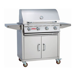 "Bull - Bull Outdoor NG 30"" Outlaw Grill and Cart - 60,000 BTU's of total cooking power -4 Porcelain Coated Bar Burners -304 Stainless Steel Construction -Dual Lined Hood -Piezo Igniters on every valve -Metal Knobs -Warming Rack -CSA Approved. The 30"" Outlaw Cart is a wonderful grilling option for the value minded customer who does not want to give up massive cooking power. The cart offers good storage underneath the grill and stainless steel side shelves for food preparation. -Weight: 217 lbs."