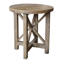 Marco Polo Imports - Erika Architect End Table - Rustic architect end table crafted from reclaimed pine with a round table top in an aged natural finish.