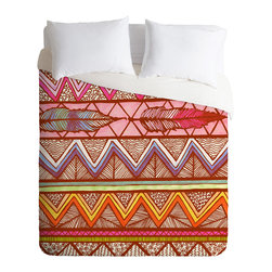 DENY Designs - Lisa Argyropoulos Two Feathers Queen Duvet Cover - If you're not afraid to let things get a little wild in the bedroom, this bright, energetic duvet cover might be just your speed. Two colorful bird feathers set the tropical tone, which is highlighted by hot pink and orange zigzags and accented by brown stripes, spots and squiggles reminiscent of animal prints. You get a bit of that jungle vibe, while the bold, geometric lines keep things contemporary.