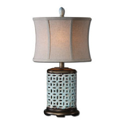 "Silver Nest - Fretwork Small Lamp - 23""h - Pierced ceramic finished in a crackled aged blue glaze with rust distressing and burnished silver champagne details. The oval modified drum shade is a khaki linen fabric with light slubbing."