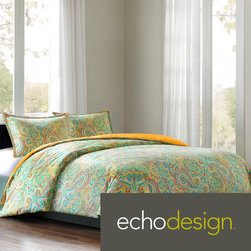 Echo - Echo 'Beacon's' Paisley Cotton 3-piece Comforter Set - Embrace the world of color with the Echo Beacon's Paisley Bedding Collection. A bright,fresh color palette plays up the intricate paisley,medallion and Aztec patterns to give your bedroom a whole new look.