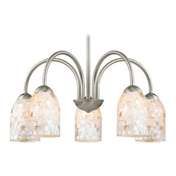 Design Classics Lighting - Chandelier with Mosaic Glass in Satin Nickel Finish - 591-09 GL1026D - Mosaic glass satin nickel 5-light chandelier light with dome glass shades. Takes (5) 100-watt incandescent A19 bulb(s). Bulb(s) sold separately. UL listed. Dry location rated.
