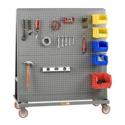 Little Giant 2-Sided Pegboard Truck - Hang your tools with confidence! The Little Giant 2-Sided Pegboard Truck is made entirely from 16-gauge welded steel and can support up to 1200 lbs. of hardware and accessories. The professional powder-coated gray finish on the pegboard panels looks great in any garage but you can actually take this truck anywhere! The double sided unit rides on 2 rigid and 2 swiveling 5-inch polyurethane casters so you can bring the tools wherever you go. Be sure to buy the size that's right for your tool arsenal - three unique models are available. About Little Giant ProductsThe Little Giant Products Division of Brennan Equipment & Manufacturing Inc. has been providing innovative material handling and industrial storage solutions for over 50 years. From their centrally located manufacturing facility in the southwest suburbs of Chicago, they produce an extensive line of workbenches and shop furniture, industrial storage equipment, floor trucks, and hand carts. Their products feature all-welded construction from heavy-gauge steel, and have earned a reputation within the industry for quality and durability in even the most demanding applications.