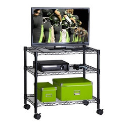 3-Shelf Steel Cart - Honey-Can-Do CRT-03937 3-Tier Steel Wire Cart, Black.  This steel rolling shelving unit is great for organizing the living room, dorm, or garage.  Each sturdy steel shelf can be adjusted to the perfect height for your use. Whether it's holding electronics, clothing, tools, or toys, this unit can do it all. Includes two locking casters.