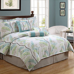 Trinity Tree 7-piece Comforter Set - If you like blues and greens, this bedding is a perfect start. I personally would add some pink and purple, but a room could also be built solely around this beautiful bedding.